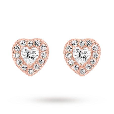Rose Gold Plated Cubic Zirconia Heart Stud Earring