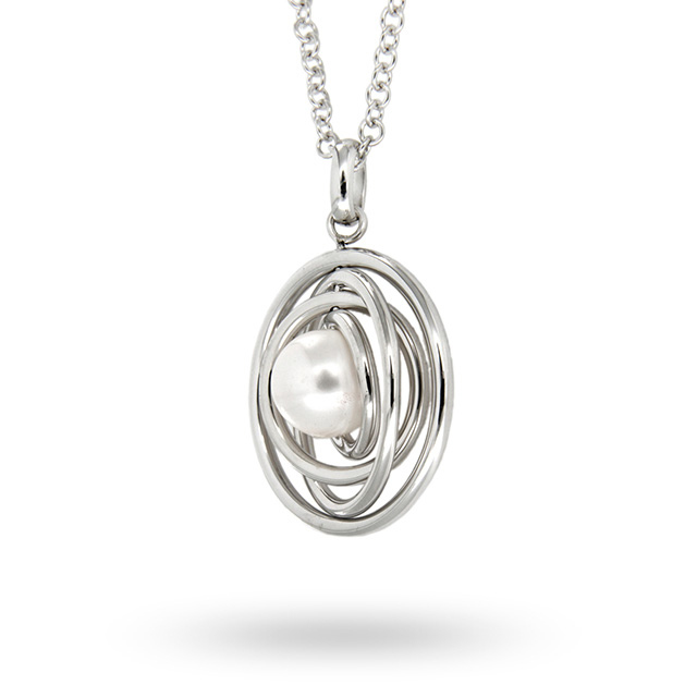 Silver Rings And Pearl Pendant
