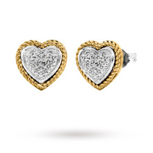 9 Carat 2 Colour Gold Pave Set Heart Diamond Stud Earrings