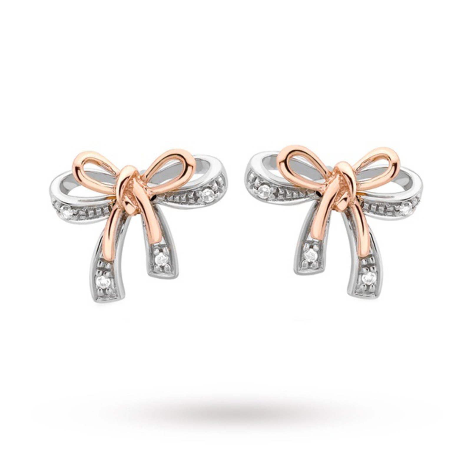 9 Carat 2 Colour Gold Diamond Bow Stud Earrings