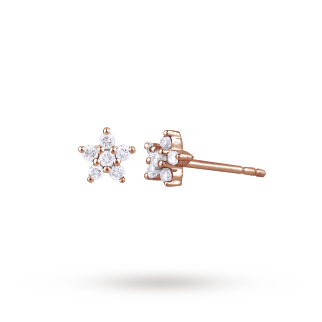 9ct Rose Gold 0.16ct Diamond Small Flower Stud Earrings