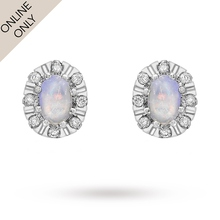 9 Carat White Gold Diamond and Opal Cluster Stud Earrings
