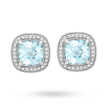 9 Carat White Gold Diamond and Square Blue Topaz Stud Earrings