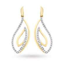 9 Carat 2 Colour Gold Diamond Swirl Drop Earrings