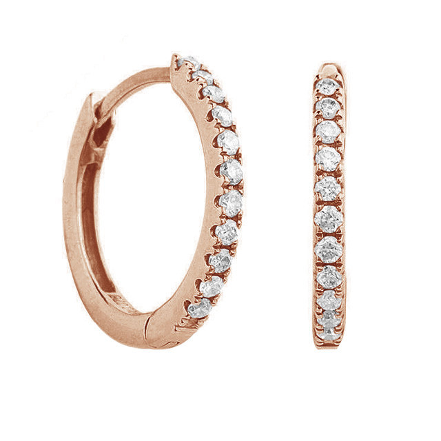 9ct Rose Gold 0.15ct Diamond Hoop Earrings