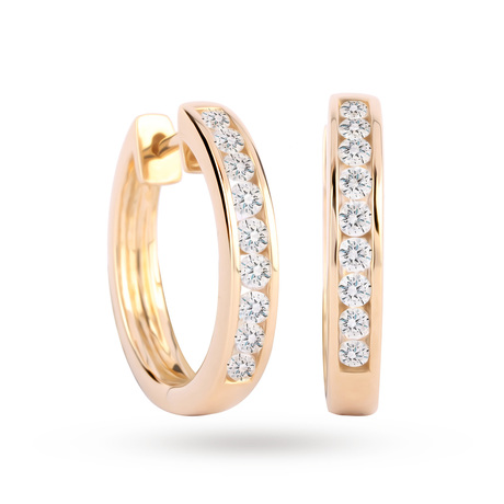 For Her - 9ct Yellow Gold 0.50 Carat Total Weight Diamond Channel Set Hoops - 15430019