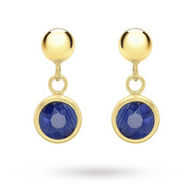 9 Carat Yellow Gold Blue Crystal and Ball Drop Earrings