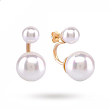 Yellow Gold Plated Silver Pearl Front And Back Earrings