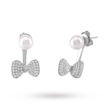 Silver Pearl Cubic Zirconia Bow Front And Back Earrings