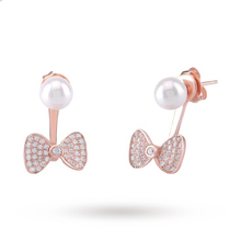 Rose Gold  Plated Silver Pearl Cubic Zirconia Bow Front And Back Earrings