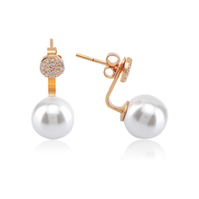 Yellow Gold Plated Silver Pave Cubic Zirconia Pearl Front And Back Earrings