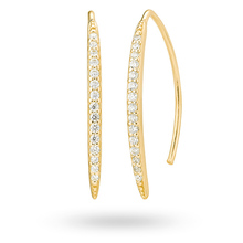 Gold Plated Cubic Zirconia Pave Drop Earrings