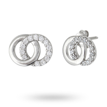 Sterling Silver Cubic Zirconia Interlinking Circle Stud Earrings