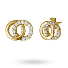 Gold Plated Cubic Zirconia Interlinking Circle Stud Earrings