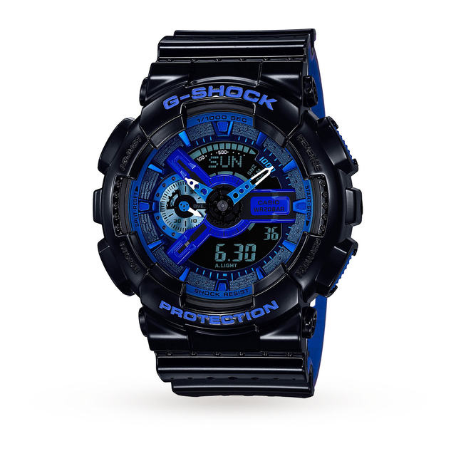Mens G-Shock World Time Black Blue Resin Strap Watch GA-110LPA-1AER