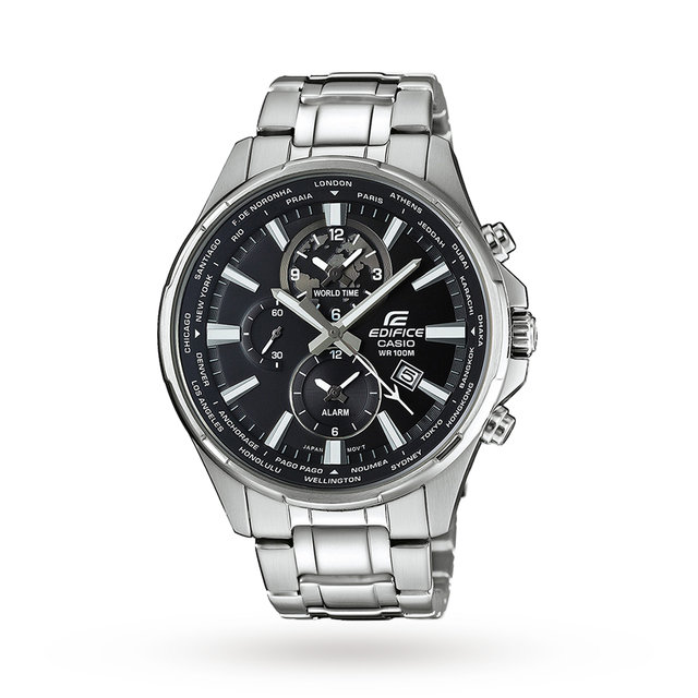 Casio Men's Edifice World Time Chronograph Date Bracelet Strap Watch, Silver/Black