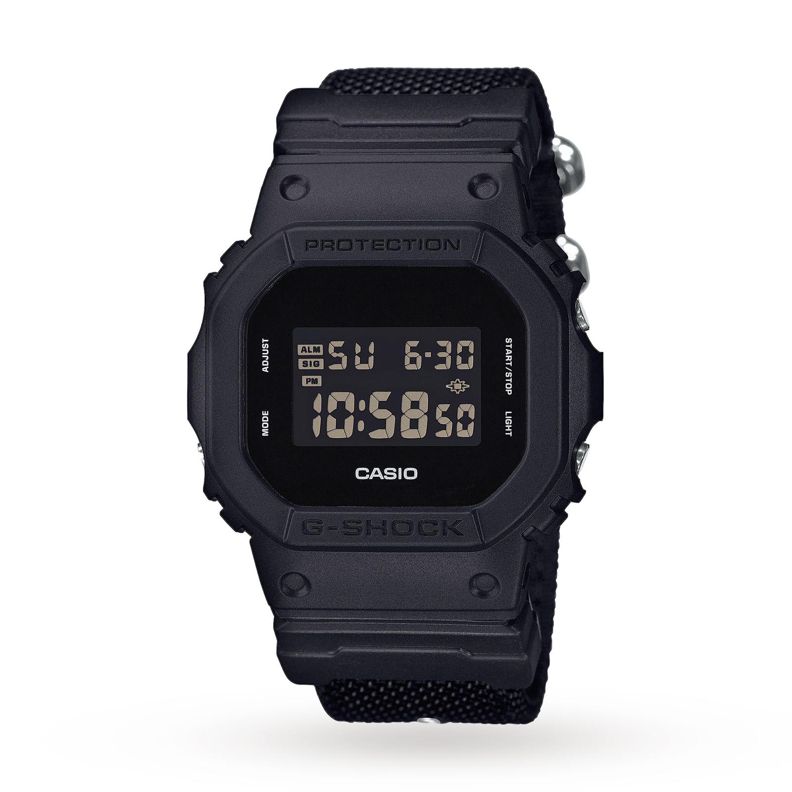 Casio Mens G-Shock Black Out Cloth Strap