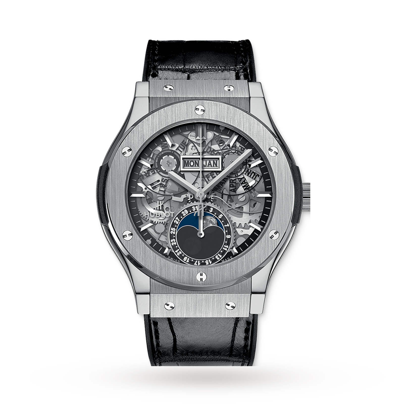 Hublot aerofusion moonphase titanium mens watch luxury watches watches watches of switzerland for Titanium watches