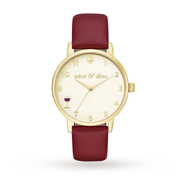Kate Spade New York Ladies Metro Burgundy Leather Strap Watch KSW1188