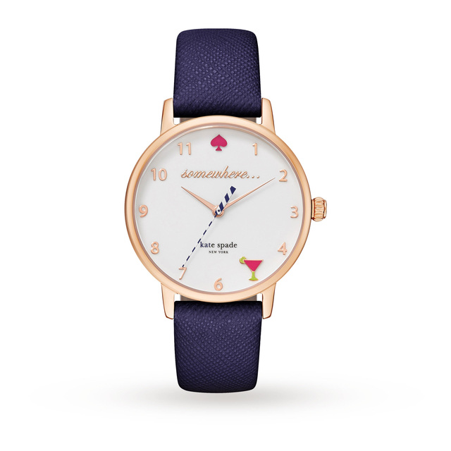 Kate Spade New York Metro 5 O'Clock White Dial Navy Leather Ladies Watch