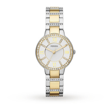 Fossil Virginia Silver Dial Two-tone Steel Bracelet Ladies Watch