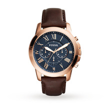 Fossil Grant Chronograph Blue Dial Brown Leather Men's Quartz Watch