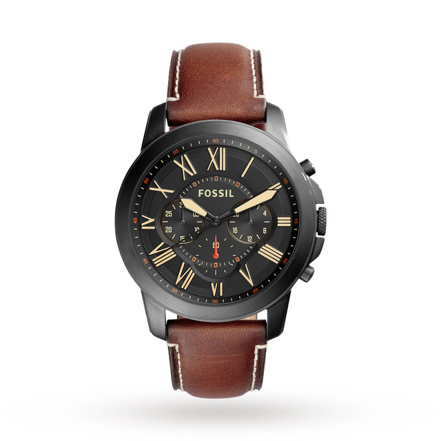 Fossil Mens Brown Leather Black Steel Dial