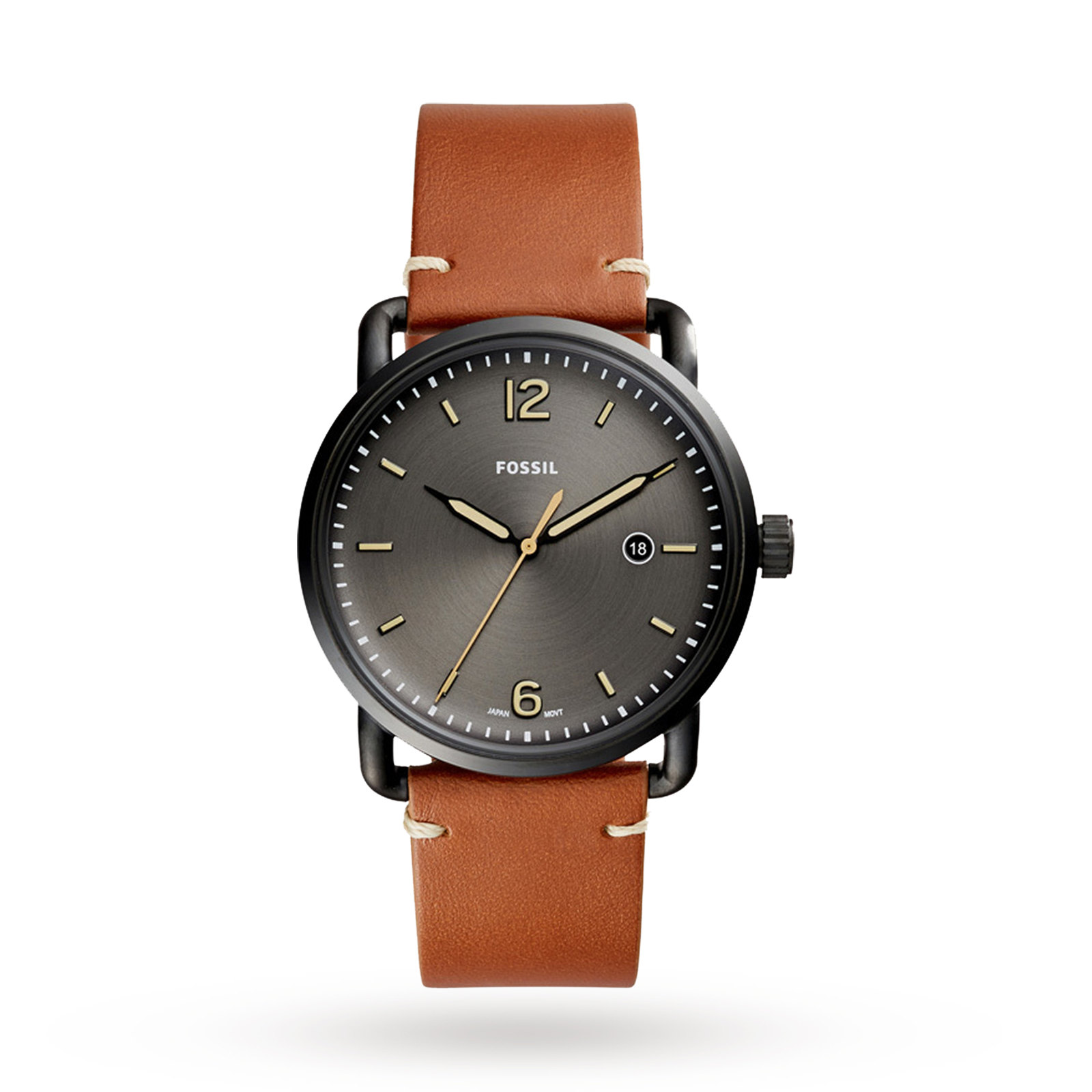 Fossil The Commuter Three-Hand Date Luggage Leather Watch