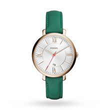 Fossil Jacqueline Three-Hand Date Teal Leather Watch