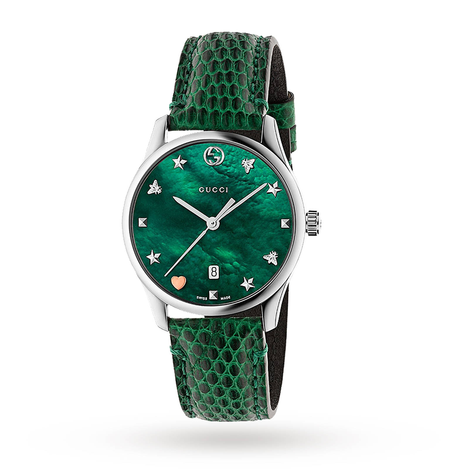 Gucci G-Timeless Green Leather Watch YA1264042