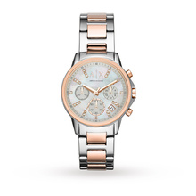 Armani Exchange Ladies Silver and Rose Gold Chronograph Watch AX4331