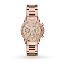 Armani Exchange Chronograph Rose Mother of Pearl Dial Rose Gold-tone Ladies Watch