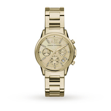 Armani Exchange Ladies Dress Gold Plated Chronograph Watch AX4327