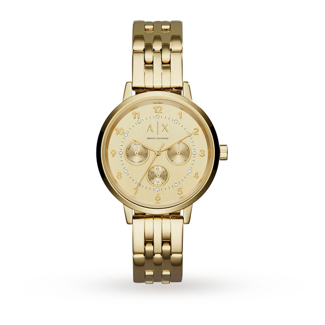 Armani Exchange Ladies Gold Steel Braclet Watch