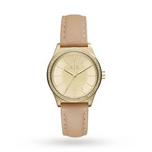 Armani Exchange AX5443 Women's Crystal Leather Strap Watch, Nude/Gold