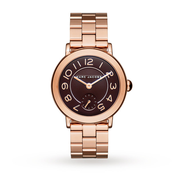 Marc Jacobs Ladies Riley Rose Gold Steel Bracelet Watch MJ3489