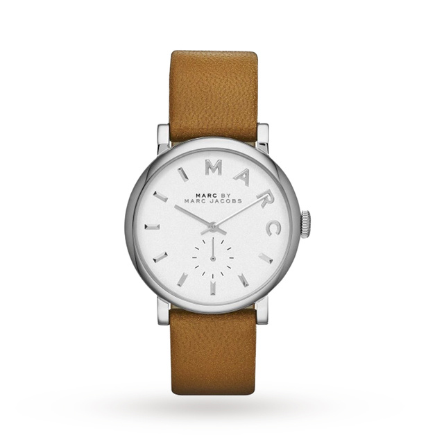 Marc Jacobs Baker White Dial Leather Ladies Watch