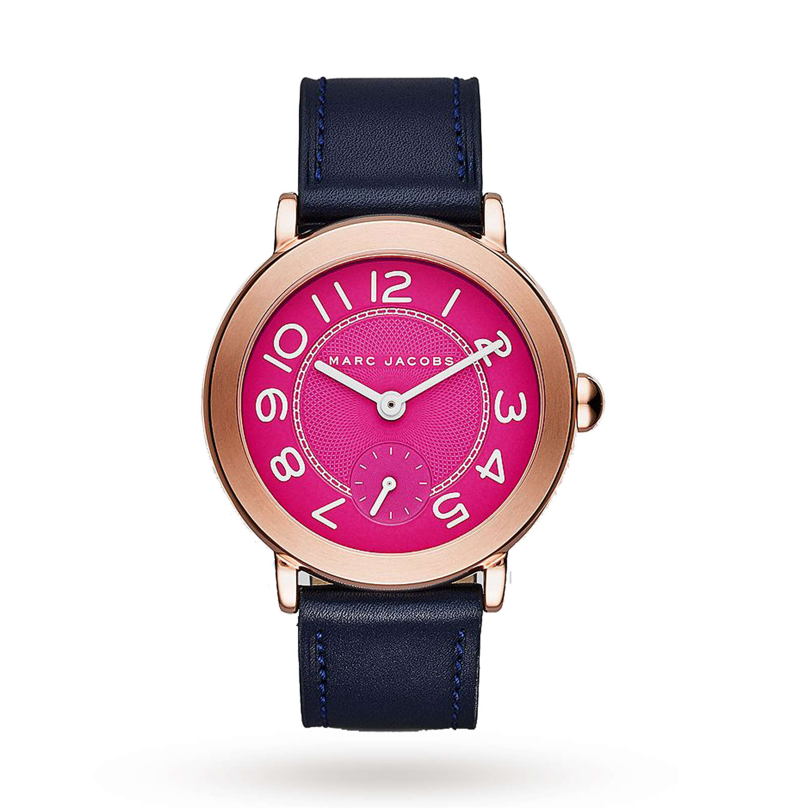 Marc Jacobs Riley Rose Gold-Tone and Navy Leather Three-Hand Watch