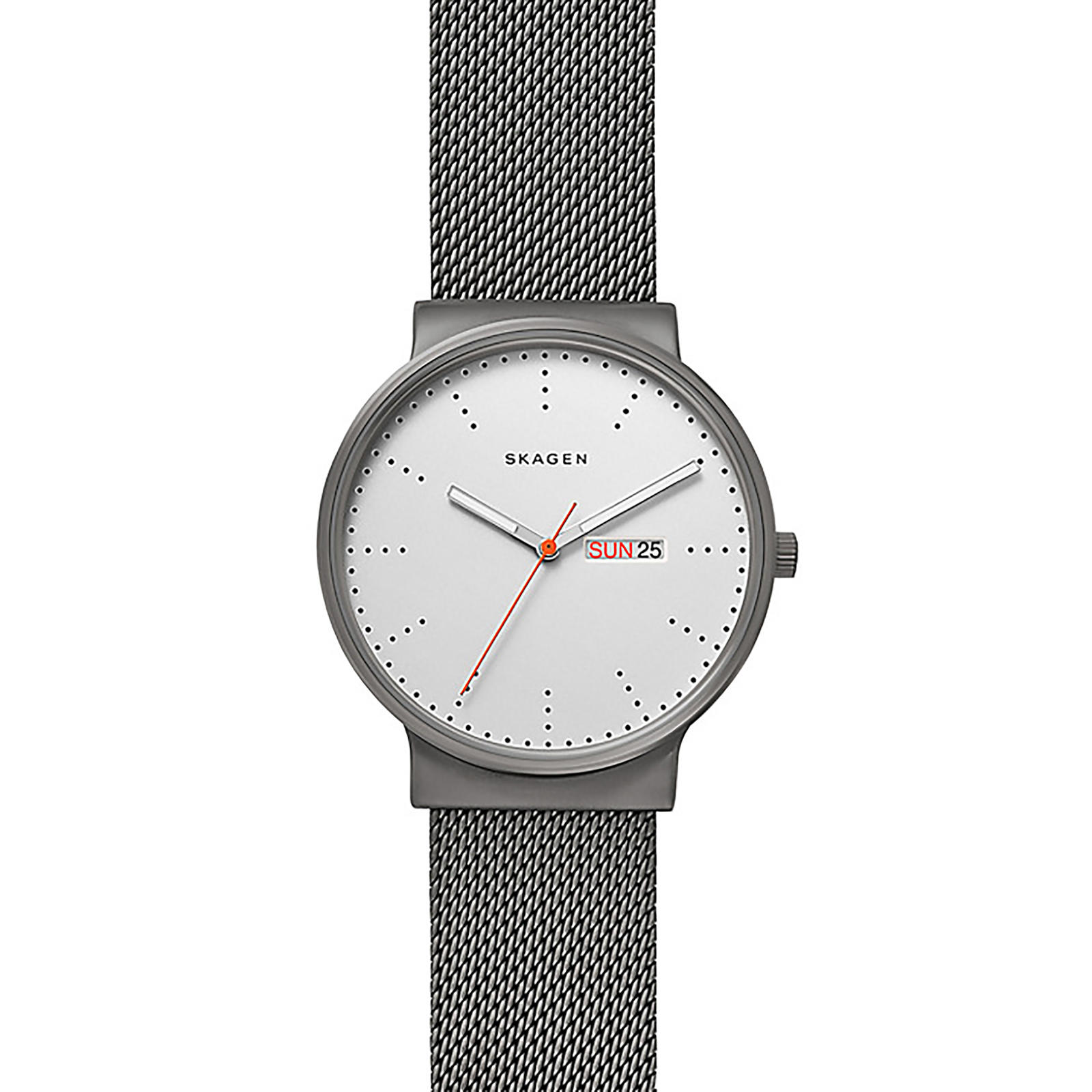 Skagen SKW6321 Men's Ancher Day Date Bracelet Strap Watch, Gunmetal/White