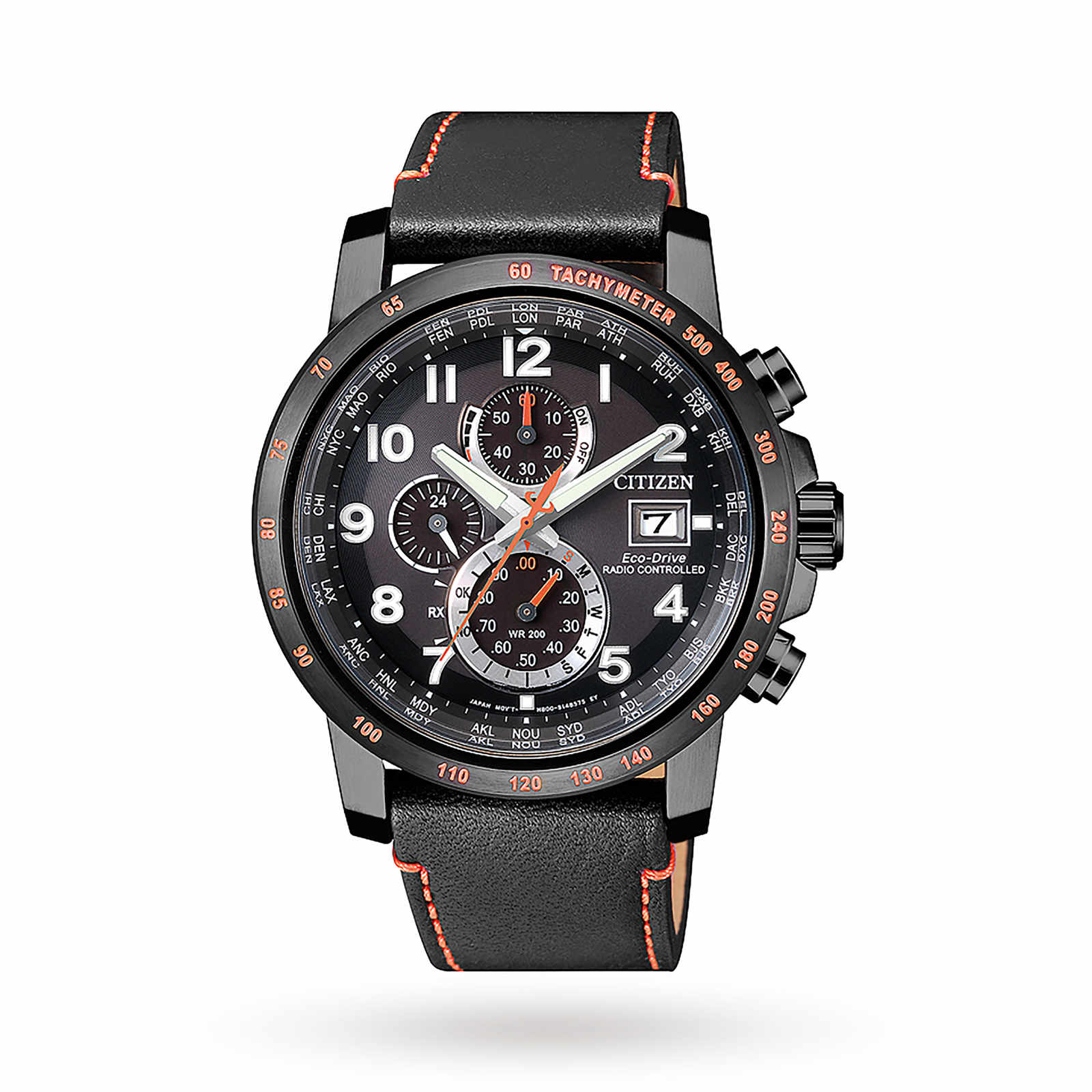 Citizen Men's Chronograph Tachymeter Date Eco-Drive Leather Strap Watch, Black & Orange