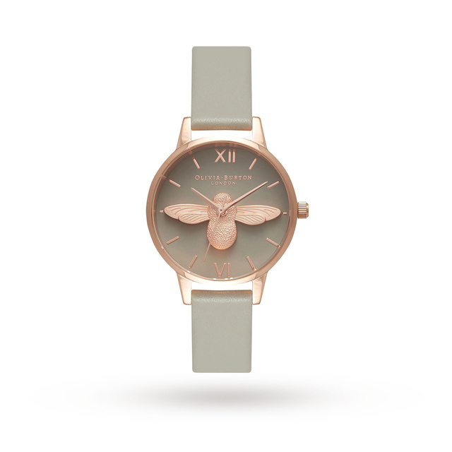 Olivia Burton Moulded Bee Grey Dial And Rose Gold OB15AM77
