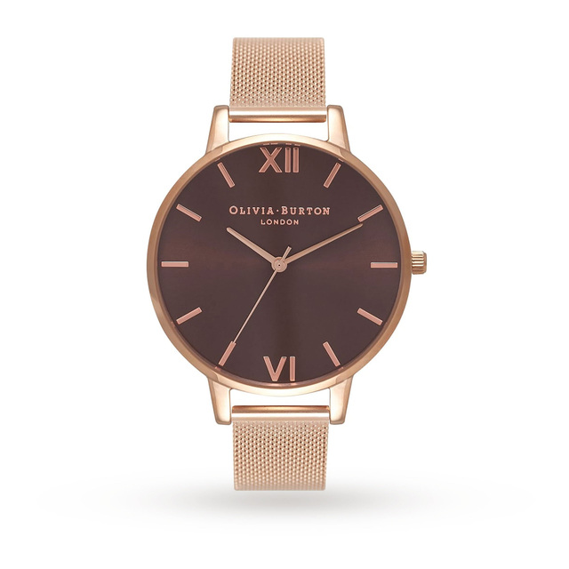 Olivia Burton Brown Dial Rose Gold Mesh Watch