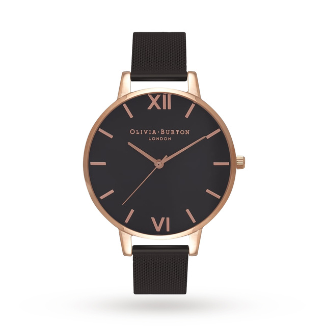 Olivia Burton Black Dial Rose Gold & IP Black Mesh