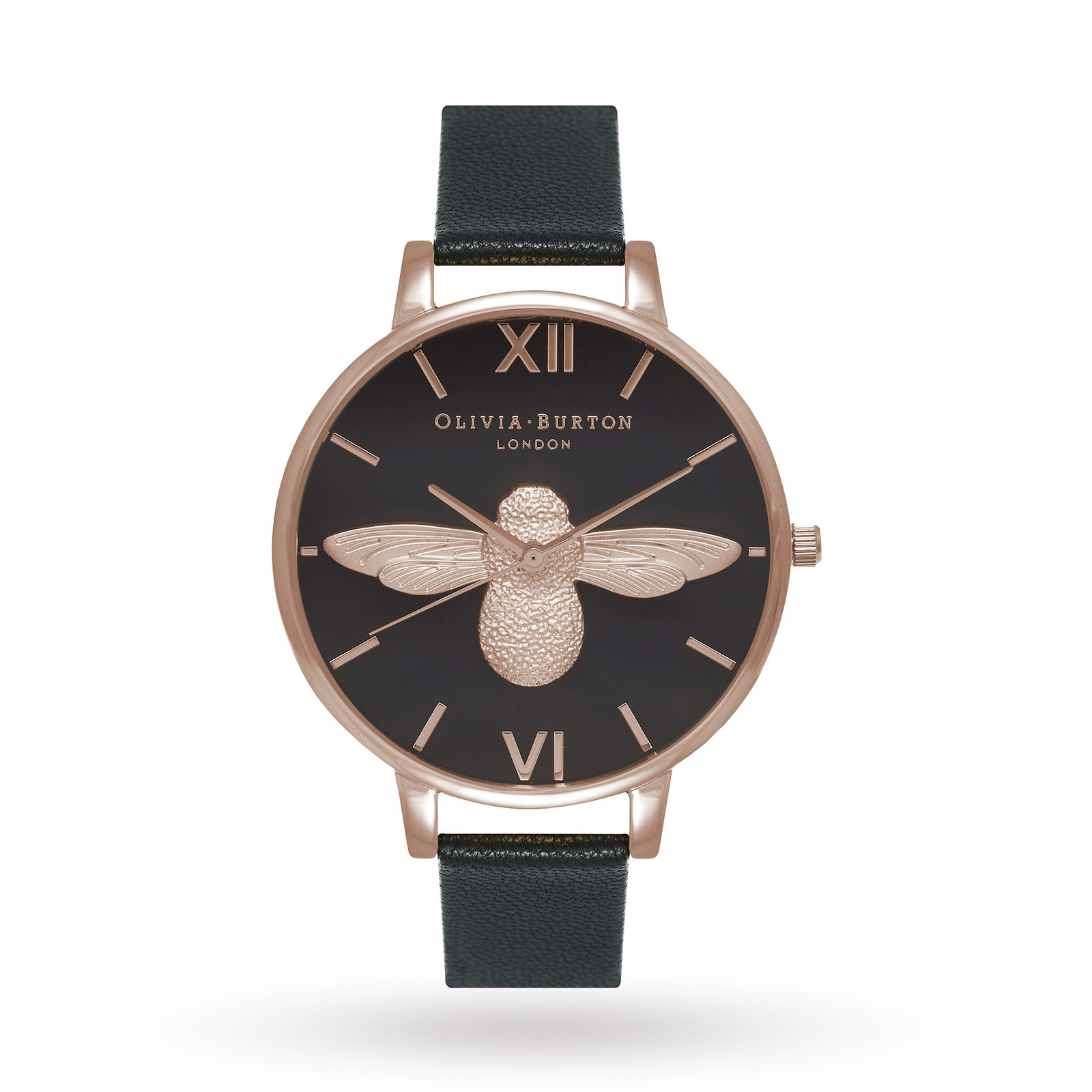Olivia Burton Animal Motif Moulded Bee Black Dial & Rose Gold