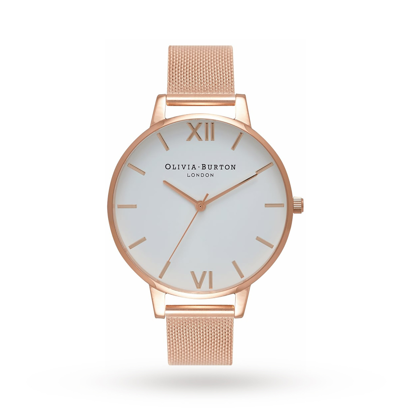 Olivia Burton Big Dial Rose Gold Mesh Watch