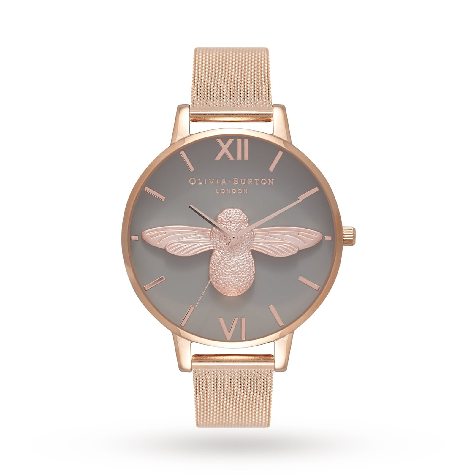 Olivia Burton 3D Bee Grey Dial Rose Gold Mesh Watch