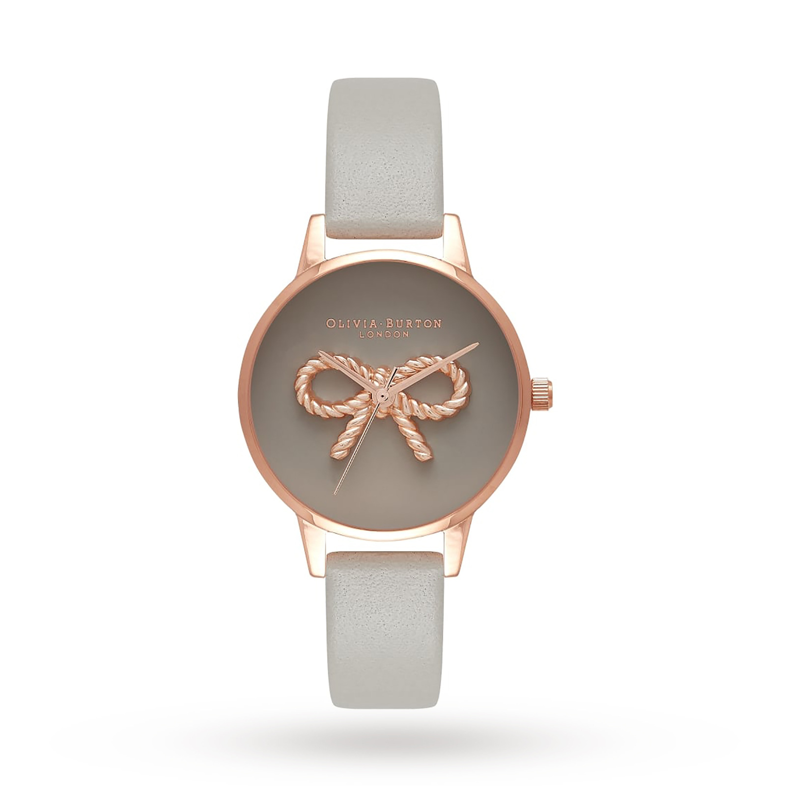 Olivia Burton 3D Vintage Bow Grey & Rose Gold Watch