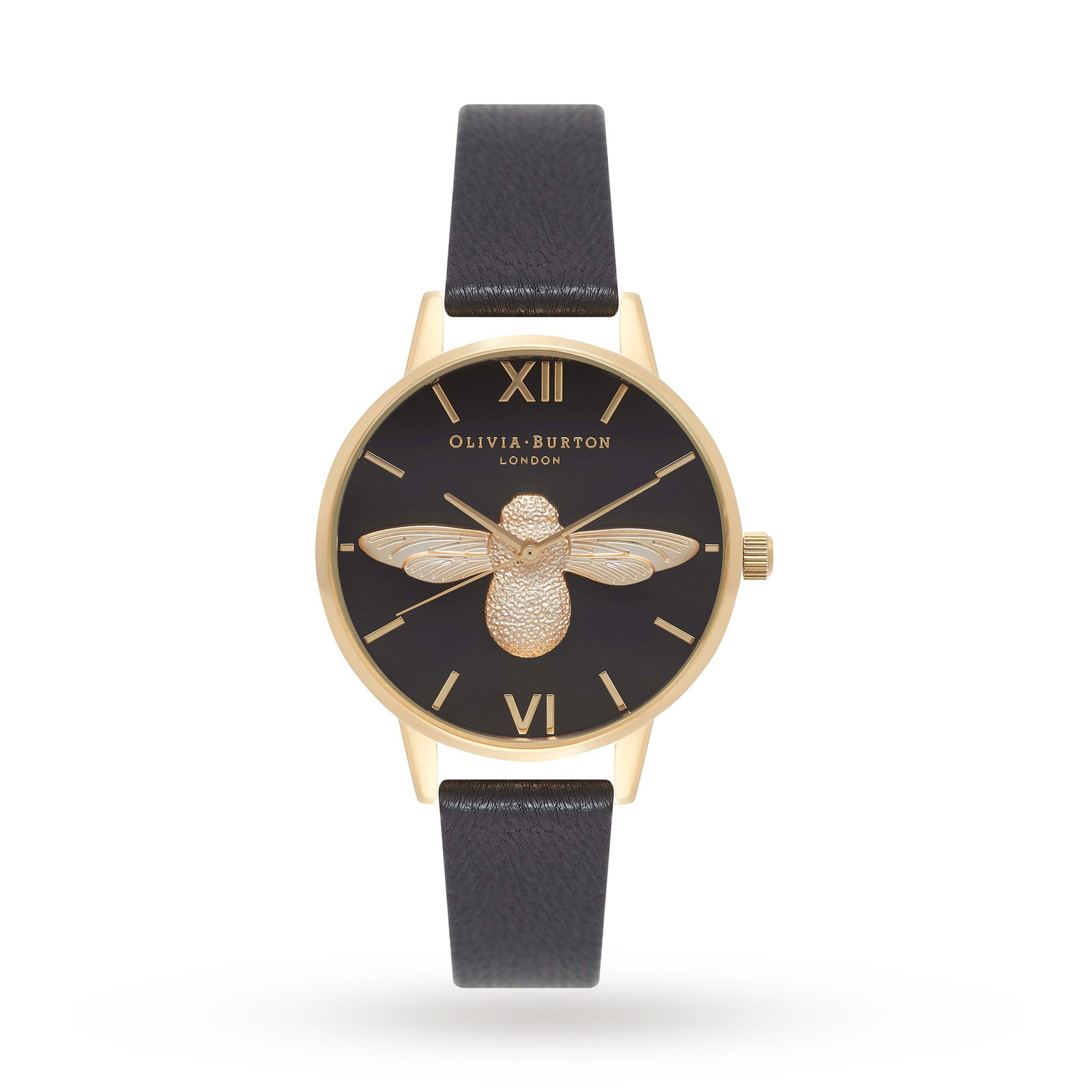 Ladies Olivia Burton Midi 3D Bee Black & Gold Watch OB16AM118