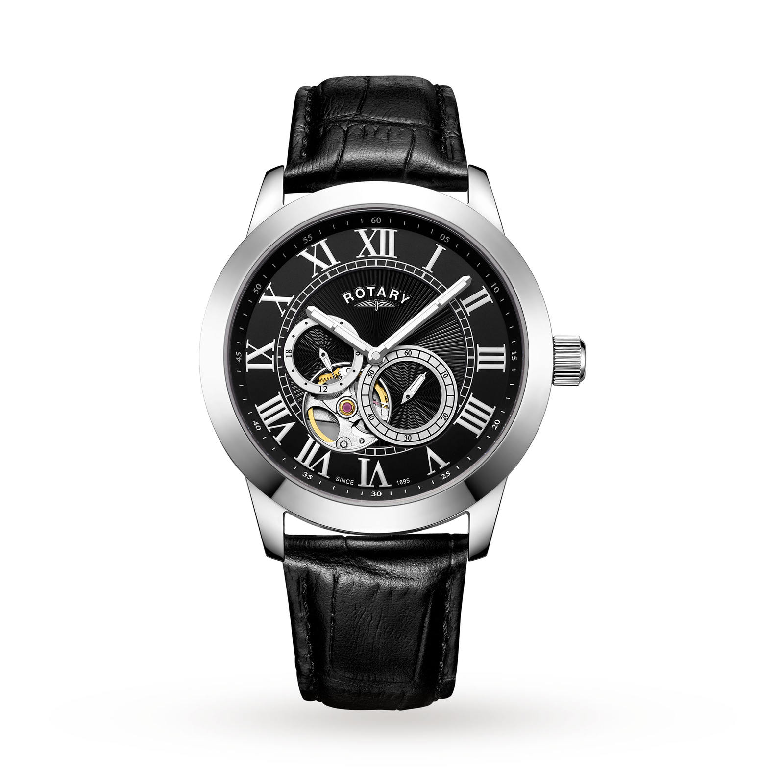 Rotary Men's Exclusive Open Heart Automatic Watch