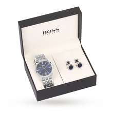 Hugo Boss Mens Gift Set Navy and Cufflinks